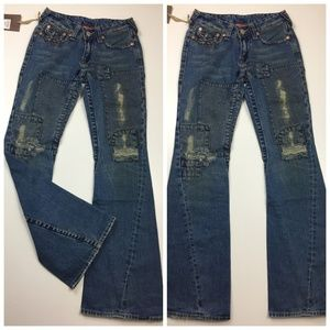 NWT TRUE RELIGION Distressed Wide Flare Leg Jeans